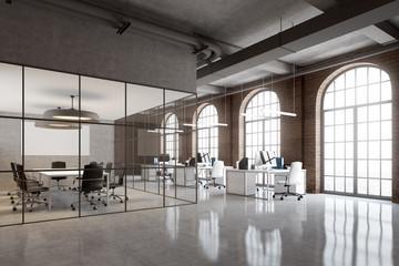 Brick office, arch windows corner