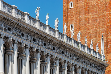 Poster de jardin Fortification Architecture in the Piazza San Marco (St Mark's Square), the main public square in the city and its religious and political center, one of the best known world's landmarks..