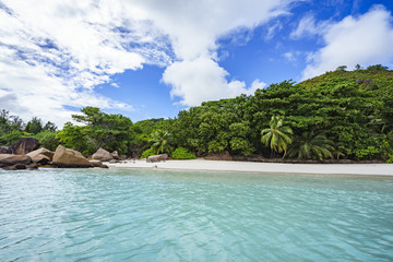 Looking to the coast of anse lazio from the water, praslin, seychelles 7