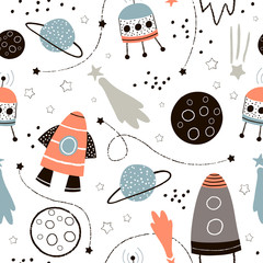 Estores personalizados infantiles con tu foto Childish seamless pattern with hand drawn space elements space, rocket, star, planet, space probe. Trendy kids vector background.