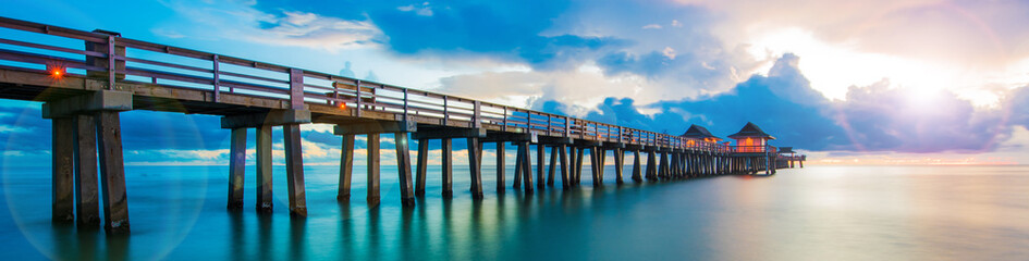 Sunset panorama on the pier, Florida