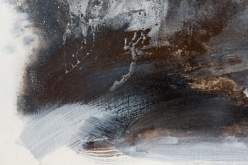 Abstract hand painted black and white background, acrylic painting on canvas, texture, close up.