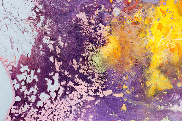 Abstract painting color texture. Bright artistic background in purple and yellow.