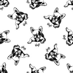 Seamless vector pattern of hand drawn sketch style bulldogs.
