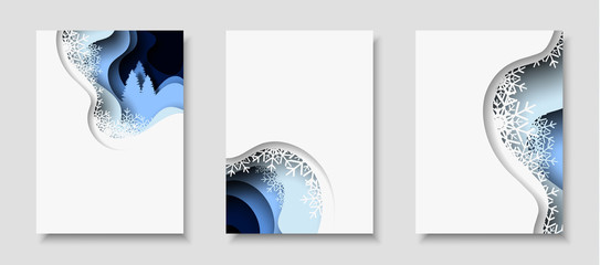 Vertical banners with 3D abstract background with paper cut shapes. Vector design layout