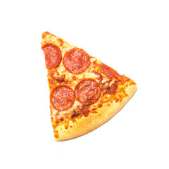 Studio shot a slice cut of classic large round pizza with Pepperoni isolated on white background. Hot and ready pizza with clipping path and copy space.