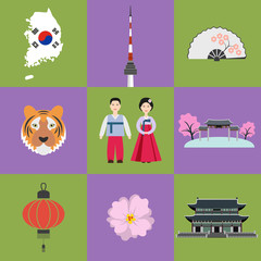Set of Korean national symbols.