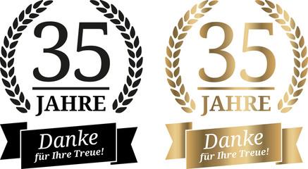 Grafik 35 Jahre in Gold und Schwarz mit Band Danke