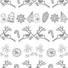 Seamless pattern of hand drawn sketch style Christmas and New Year themed objects. Vector illustration isolated on white background.