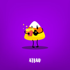 Cute candy corn with popcorn on violet background. Flat style. Vector card with emotion of fear.