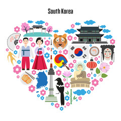 Colorful poster with symbols of South Korea.