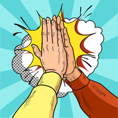 Hands give five pop art. Male hands in a gesture of success. Yellow and red sweaters. Vintage cartoon retro vector illustration.