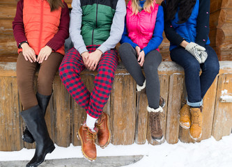People Group Sitting On Terrace Wooden Country House Winter Snow Resort Cottage Friends On Vacation