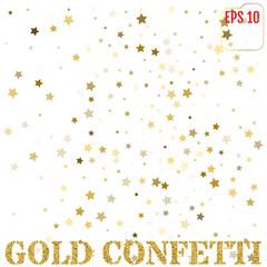 Gold stars. Confetti celebration. Festival decor. Vector illustration