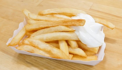 French Fries with Mayonnaise in A White Box
