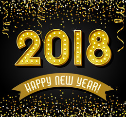 2018 Happy New Year design with golden light bulb letters, glitter and streamers.