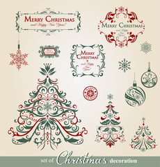 Collection of ornamental Christmas decorations