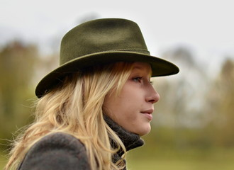 woman in hunting hat