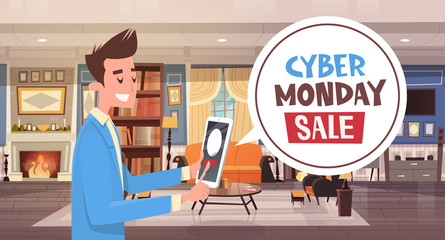 Cyber Monday Sale Chat Bubble Message From Guy Using Digital Tablet Holiday Discounts Banner Design Vector Illustration