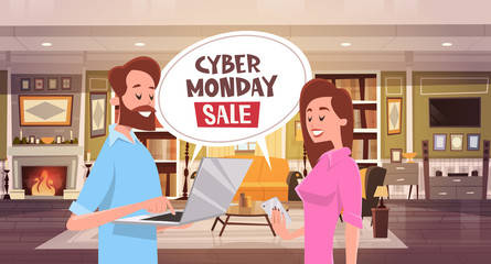 Cyber Monday Sale Chat Bubble Message With Man And Woman Using Smartphone And Laptop Holiday Discounts Banner Design Vector Illustration
