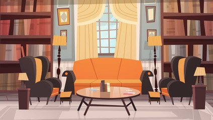 Cozy Living Room Interior Design With Furniture, Sofa, Table Armchairs And Bookcase Flat Vector Illustration