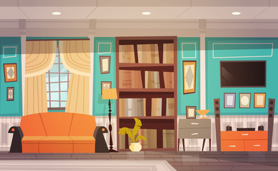 Cozy Living Room Interior Design With Furniture, Window, Sofa, Bookcase And Tv Flat Vector Illustration