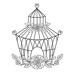 Vector Birdcage with Flowers