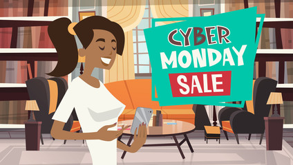 Cyber Monday Sale Message From Girl Using Cell Smart Phone Holiday Discounts Banner Design Vector Illustration