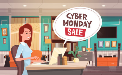 Cyber Monday Sale Chat Bubble Over Woman Using Laptop Computer Holiday Discounts Banner Design Vector Illustration