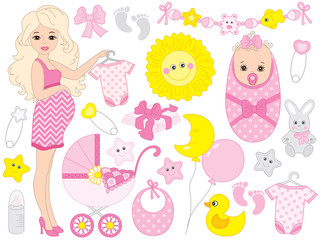 Vector Set for Baby Girl Shower