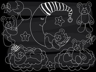 Vector Chalkboard Baby Bears Set