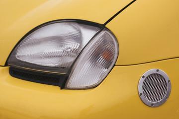 Spotlight on the yellow car