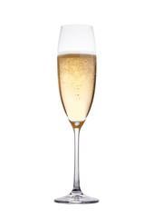 Champagne glass with bubbles isolated on white