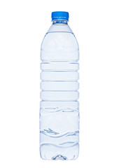 Bottle of healthy still mineral water on white