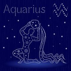 Zodiac sign Aquarius with snowflakes