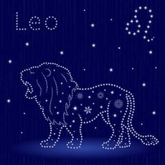 Zodiac sign Leo with snowflakes
