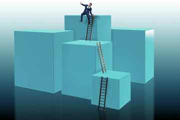 Businessman falling from high block in failure concept