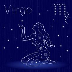 Zodiac sign Virgo with snowflakes
