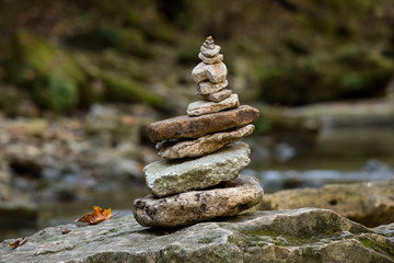 Balanced rocks in a creek bed.