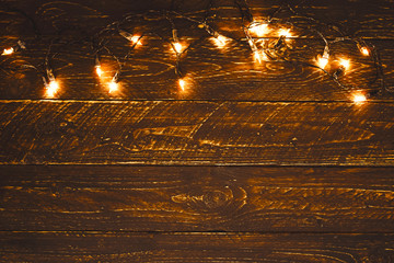 Christmas Lights Bulb On Wood Table Merry Xmas