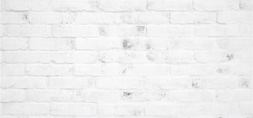 Fotobehang - Blank white brick wall texture background, banner, interior design background