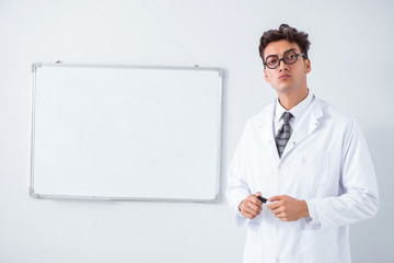 Funny doctor scientist making presentation in hospital