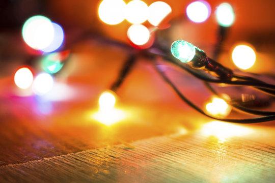 multicolored christmas lights garland