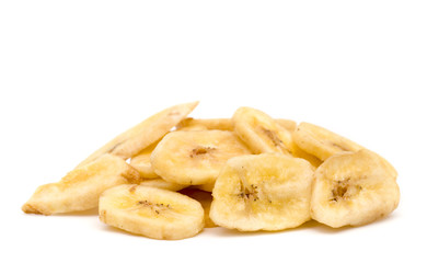 Dried Banana Chips on a White Background