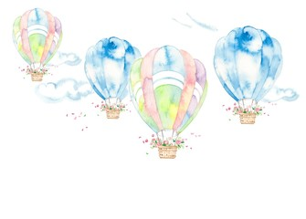 気球、風景、雲と花かご