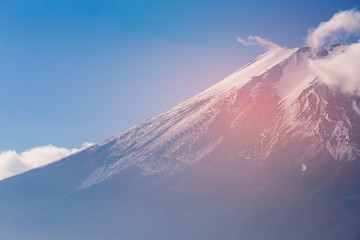 Fuji mountain volcano close up against clear blue sky background, Japan natural landscape