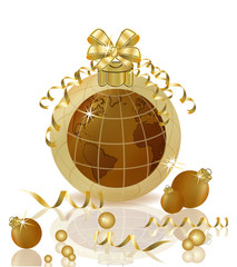 Merry Christmas & Happy New year golden planet and xmas balls, vector illustration