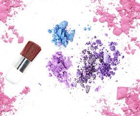 Glitter eye shadow and blush make up cosmetic products