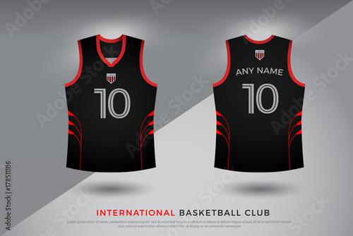 4889165df basketball t-shirt design uniform set of kit. basketball jersey template.  black