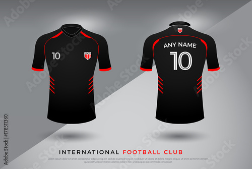 02fd21e3d soccer t-shirt design uniform set of soccer kit. football jersey template  for football club. red and black color